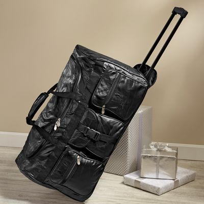 Patch Leather Roller Duffle Bag