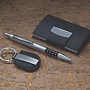 business card pen keychain set