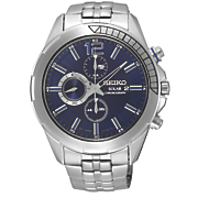 men s solar chrono blue dial watch by seiko