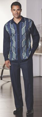 Navy Knit-Front Pant Set by Stacy Adams
