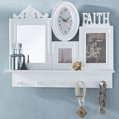 Faith Photo Shelf with Clock