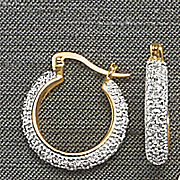 diamond two tone small hoop earrings