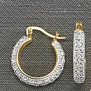diamond two tone small hoop earrings