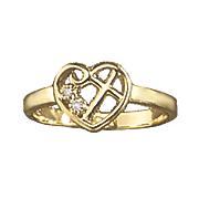 diamond open heart with cross ring