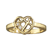 diamond open heart with cross ring