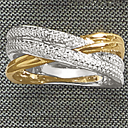 diamond two tone double swirl ring