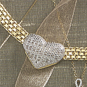 diamond cushion heart necklace
