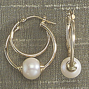 double hoop pearl earrings