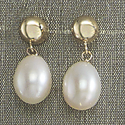 half round top drop pearl earrings