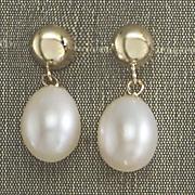 half round top drop pearl earrings