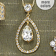 white topaz pear drop pendant with cubic zirconia