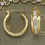white topaz banded hoop earrings