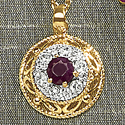 ruby and cubic zirconia round scroll pendant