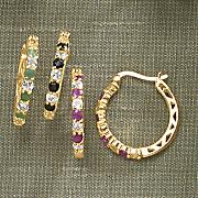 gemstone hoop earrings with white topaz