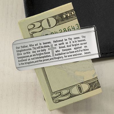Stainless Steel Lord's Prayer Money Clip