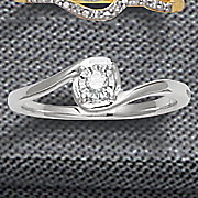 10k diamond solitaire swirl ring