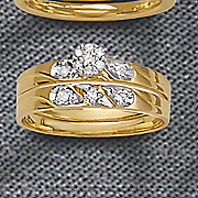 10k diamond round textured bridal set
