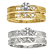 10k diamond round textured bridal set