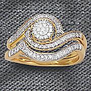 10k diamond round swirl bridal set