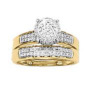 round elevated mount diamond bridal set