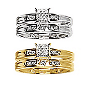 square textured diamond bridal set