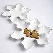 set of 2 snowflake plates