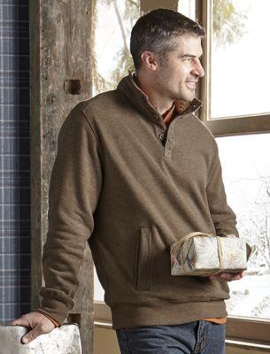 Sherpa Button Collar Sweatshirt
