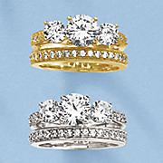 white topaz 3 solitaire bridal set
