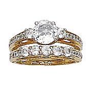 white topaz round solitaire bridal set