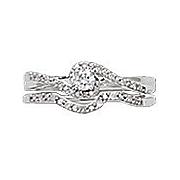 10k diamond solitaire swirl locking bridal set