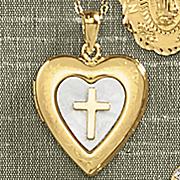 heart locket with cross pendant