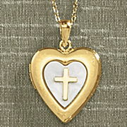 heart locket with cross pendant