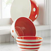 set of 3 red and white mixing bowls