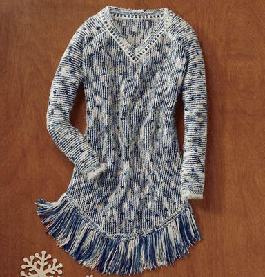 Denim Fringe Sweater
