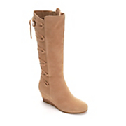 women s lace up back wedge boot by midnight velvet