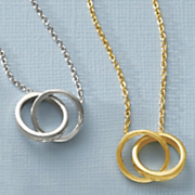 gold over sterling silver double circle necklace