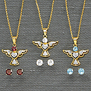 birthstone wings pendant and earring set