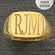 initials rectangle signet ring