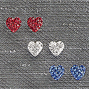 3 pair swarovski heart earring set