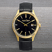 men s leather strap watch by caravelle