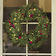 cashmere wreath with lights