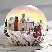 snowman village globe