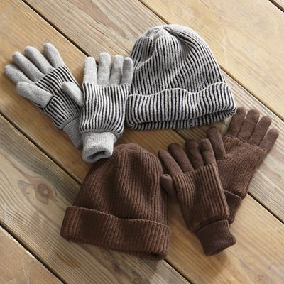 Men's 2-Color Thinsulate Cap and Glove Set
