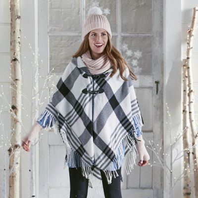 Bold Plaid Cape