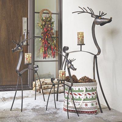 Set of 3 Metal Deer Candleholders