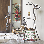 set of 3 metal deer candleholders