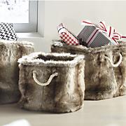 set of 3 faux fur square baskets