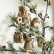 set of 6 hedgehog ornaments