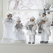 set of 4 frosted white carolers