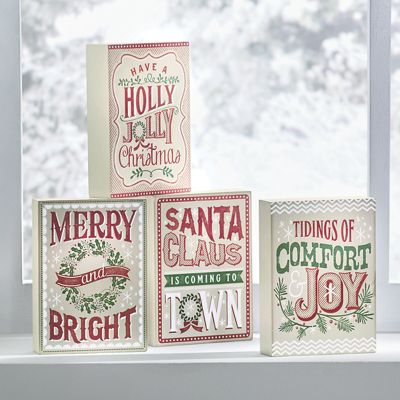 Set of 4 Christmas Block Art